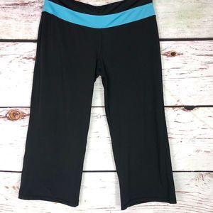 Avia Black/Teal Crop Wide-Leg Pants - L